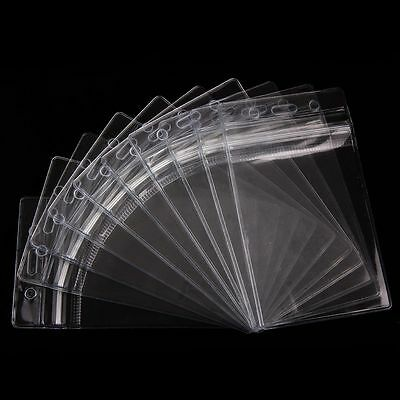 10pcs Student Office Clear Plastic Vertical Business Name ID Card Badge Holder