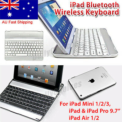 Stand Aluminum Case Cover with Bluetooth Keyboard for Apple iPad mini Air 2 Pro