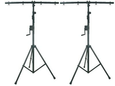 2 x QTX Heavy Duty High Quality DJ Disco Winch Wind Up T-Bar Lighting Stand