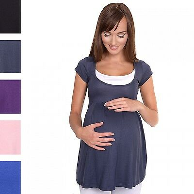 Happy Mama. Women's Maternity Nursing Top Short Sleeves Double Layer Neck. 959p