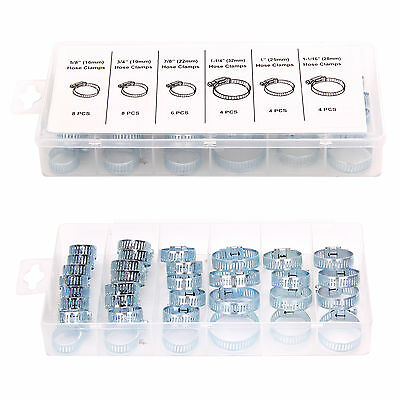 34pc Assorted Stainless Steel Hose Clamp Driver Jubilee Clip Style Kit Tool UK