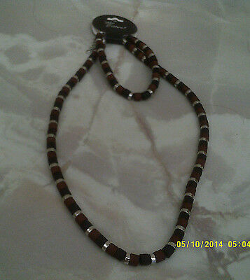 """MENS SURF JEWELLERY NECKLACE AND BRACELET col black brown & silver 18"""""""
