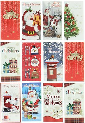 Pack Of 8 Christmas Money Wallet Gift Cards & Envelopes - Modern Text & Santa