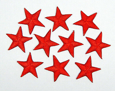 """Red star patches > pack of 10 > embroidered > iron-on > 1"""" (25mm) hand finished"""