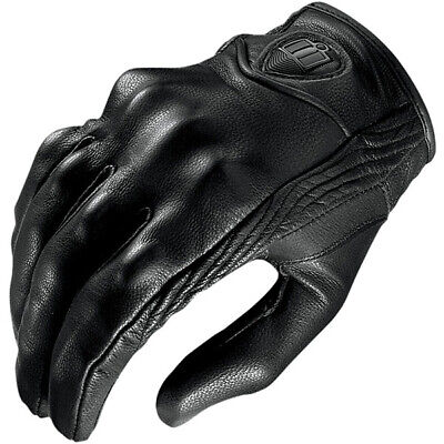 Icon Motorbike Motorcycle Leather Pursuit Gloves - Black