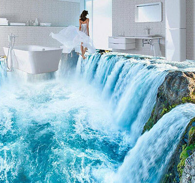3D Amazing White Waterfall Floor Mural Photo Flooring Wallpaper Print Home Decal
