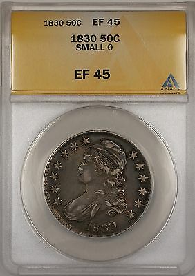 1830 Small 0 Capped Bust Silver Half Dollar 50c Coin ANACS EF-45