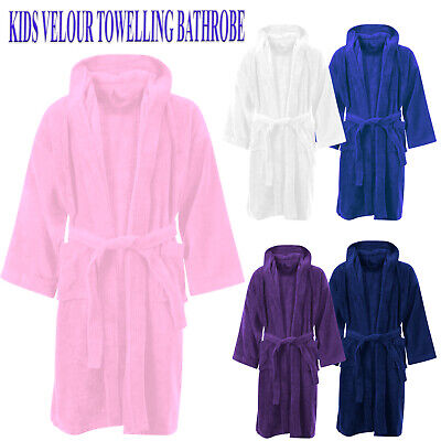 Kids Bathrobe Boys Girls 100% Egyptian Cotton Towelling Dressing Gown Soft Towel