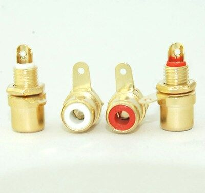 2 Pairs Mini Size Female Amplifier RCA Jack Chassis Sockets Mount E1611 USA