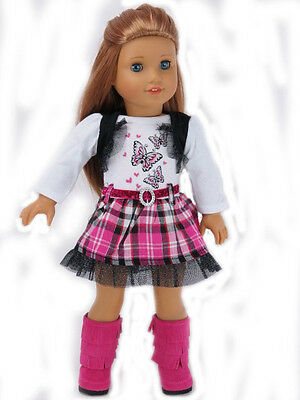 """Doll Clothes 18"""" Dress Pink Plaid Butterfly Fits American Girl Dolls"""