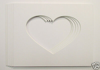 "Pack of 5, 7x5 Heart Shaped Photo Mounts to Fit 10""x8"" frames"