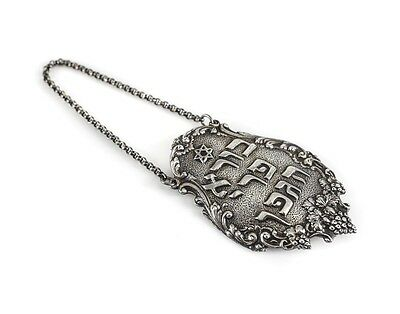 Sterling Silver Judaica Shabbat Wine Bottle Tag Label with chain. Hand chased