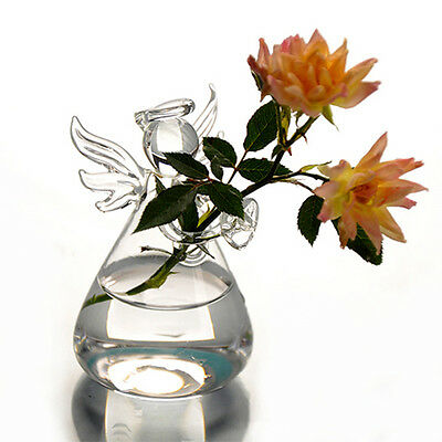 New Cute Clear Glass Angel Shape Flower Plant Hanging Vase Home Office Decor