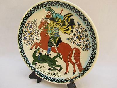 Handcrafted Kutahya Pottery St George Decorative Plate From Turkey 12.5 Inches