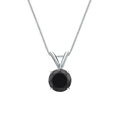 """1.25 Ct Round Cut Black Solid 14k White Gold Solitaire Pendant 18"""" Necklace"""