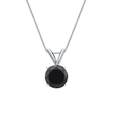 """2 Ct Round Cut Black Solid 14k White Gold Solitaire Pendant 18"""" Necklace"""