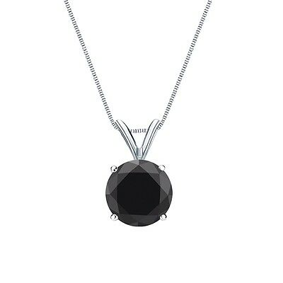 """3 Ct Round Cut Black Solid 14k White Gold Solitaire Pendant 18"""" Necklace"""