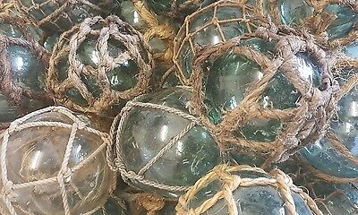 "Japanese Glass Fishing Floats 4-4.5"" Lot-5 Blue-Green Netted ""Grapefruit"" Vntg"