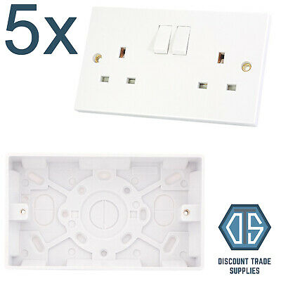5x 2 Gang Double Socket Switched White Wall and 25mm Surface Pattress Back Box