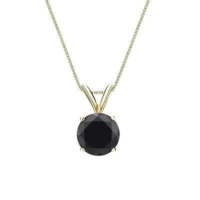 """2.25 Ct Round Cut Black Solid 14k Yellow Gold Solitaire Pendant 18"""" Necklace"""