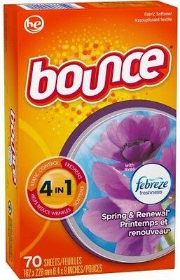Bounce With Febreze Freshness Spring and Renewal Fabric Softener, 70 Sheets