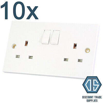 10x 2 Gang Double Sockets 13 Amp White Double Twin Switched Double Wall Socket