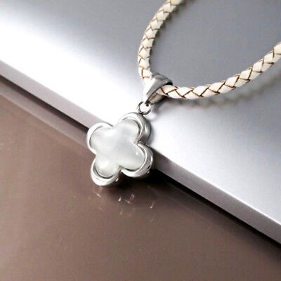 Silver Stainless Glass Tigers Eye Cross Pendant Braided White Leather Necklace