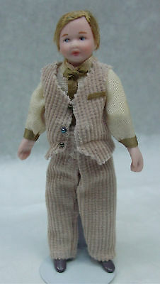 """Dollhouse Miniature 1:12 Scale Porcelain 4"""" Boy Doll  Dressed Jointed #D121"""