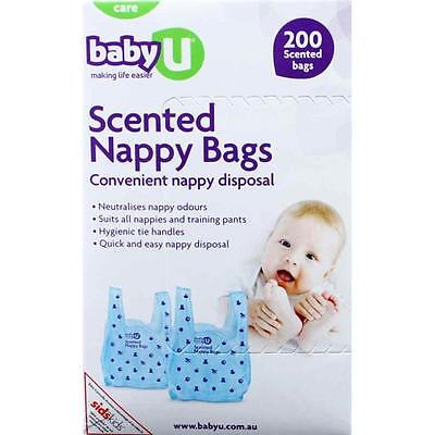 BABY U SCENTED NAPPY SACKS BAGS 200 disposable nappy disposal