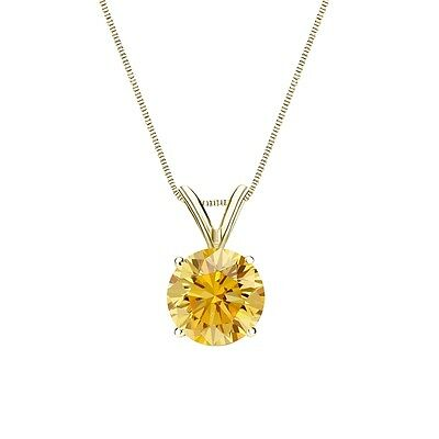 """3 Ct Round Canary Yellow Solid 14k Yellow Gold Solitaire Pendant 18"""" Necklace"""