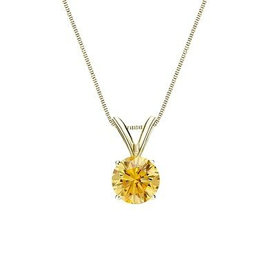 """1.75 Ct Round Canary Yellow Solid 14k Yellow Gold Solitaire Pendant 18"""" Necklace"""