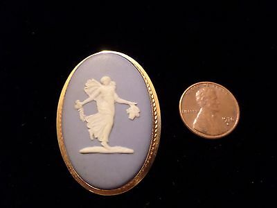 Vintage Signed Van Dell Pendant Brooch 14K Gold Filled Cameo Wedgwood England