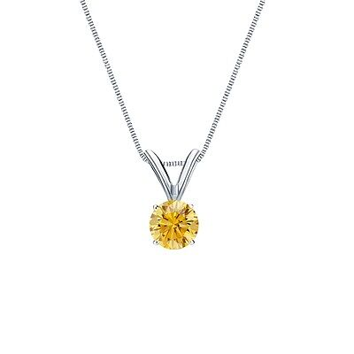 """1 Ct Round Canary Yellow Solid 14k White Gold Solitaire Pendant 18"""" Necklace"""