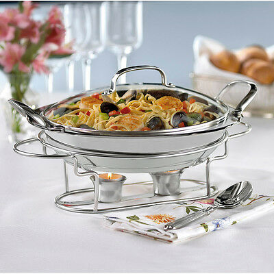 1-Station Buffet Server Chafing Dish Tray Catering Food Warmer Stainless Steel