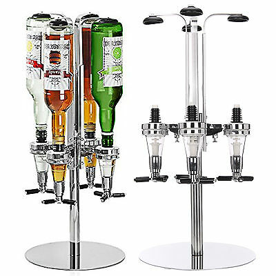 Rotary 4 Bottle Stand Drinks Optics Dispenser in Spirits Wine Steel Bar Butler