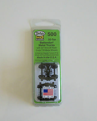 "Kadee #500 Bettendorf 33"" smooth back metal trucks - 1 pair to a pack"