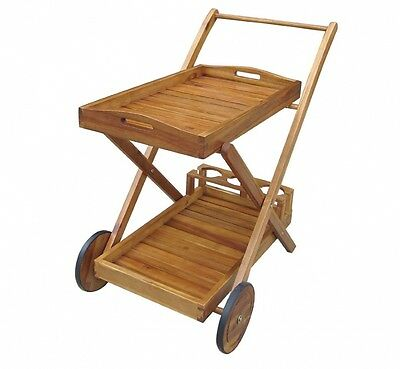 Bentley Garden Wooden Food And Drinks Trolley With Wheels And Tray Wheeled Cart.