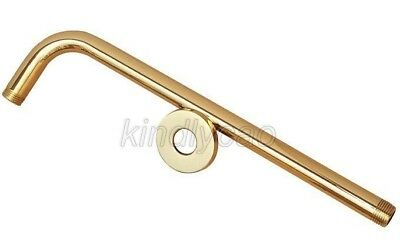 "Luxury Gold Color Brass Shower Head Extension Pipe - 12"" Long Shower Arm Ksh102"