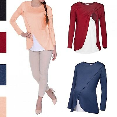 Happy Mama. Women's Maternity Nursing Wrap Top 3/4 Sleeves. Double Layer. 962p