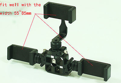 Tri-Hot Shoe Mount with 3 smartphone holder clamps kit fr Apple iPhone 6s Plus 6