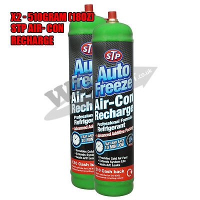 PAIR Car Air Conditioning R-134a Air Con Recharge STP Top Up Gas Refill pack x2