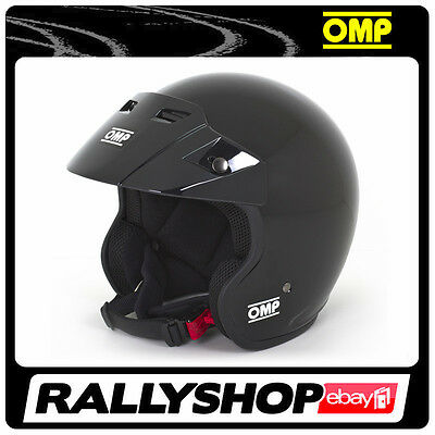 NEW Open Helmet OMP STAR BLACK GLOSSY size XL ABS Rally Race Trackdays UNIVERSAL