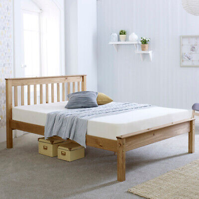Chester Waxed Pine Medium Wood Tone Bed with 4 Mattress and 4 Size Options