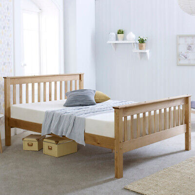 Somerset Waxed Pine Wood Bed with 4 Mattress and 4 Size Options