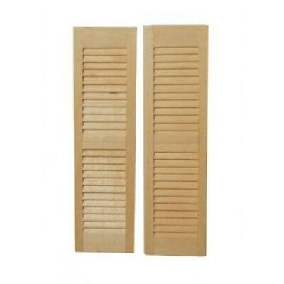 Dolls House Miniatures 1/12th Scale Wooden Louvre Shutters Pk of 2, DIY127