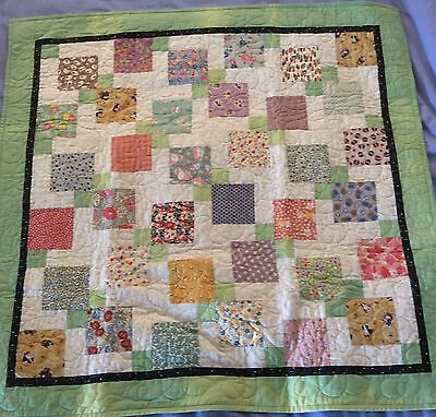 Baby quilt, handmade, multi color for boy or girl