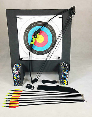 ASD Wildcat Kids Blk & Green Compound Archery Bow 12Lb Package 3 W/ Target Boss