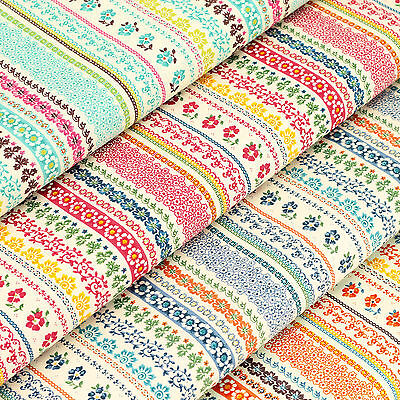 Cotton Print Fabric per FQ Retro Floral Vine Lace Stripe Dress Quilt Crafts VS10