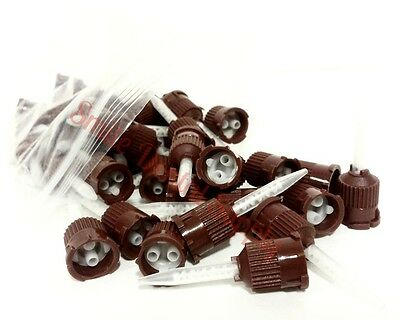 20 pcs Dental Brown Temporary Cement Mixing Tips. 1:1 ratio. US SELLER