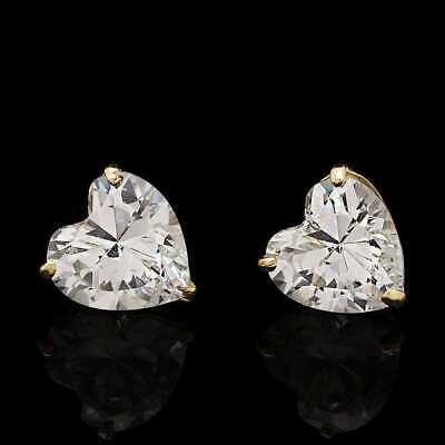 2Ct White Created Diamond Heart Solid 14K Yellow Gold Stud Push-Back Earrings